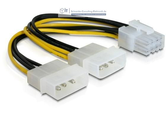strom adapter pcie pci express 8 pol auf 2x 4pol molex 15cm 0 93 schneider consulting