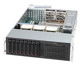 Supermicro 3HE Server Gehäuse SC835TQ-R920B 920 Watt redundantes 80+ PLATINUM Netzteil 8x Hot-Swap HDD