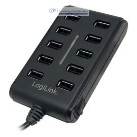 USB Hub Verteiler 10 Port USB 2.0 mit Netzteil on/off Switch